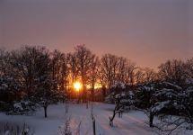 winter sonnen untergang